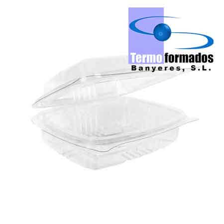 Tarrina bisagra transparente de plástico PET reciclado de Termoformados Banyeres